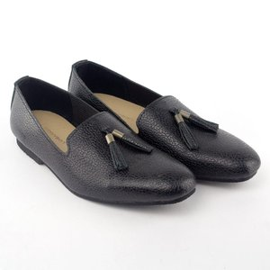 638a41a80f5 LANBAHARIN Tricorn Black Leather Loafer with Tassel