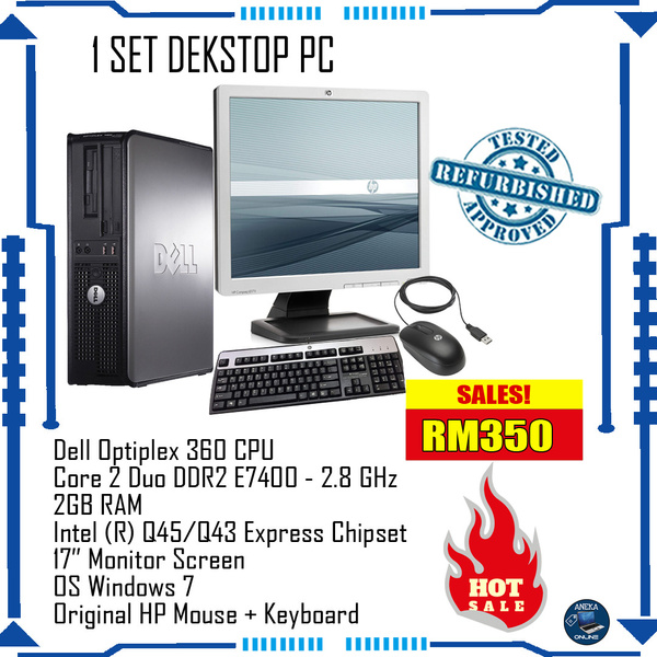 DELL Desktop SetDell Optiplex 360 CPU Core 2 Duo DDR2 E7400